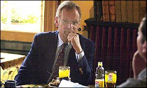 Jeffrey Archer in the grounds of Lincolnshire