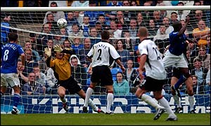 Everton's Kevin Campbell scores in the 2-0 win over Fulham