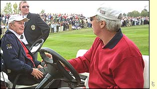 Former US president George Bush stops to talk to US captain Curtis Strange