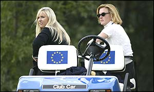 Caroline Harrington and Eimear Montgomerie sit in one of the European team's buggies
