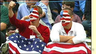 US fans cheer on their players on the second day