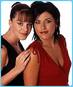 Michelle Ryan (L) and Jessie Wallace who plays Kat Slater
