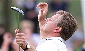 Colin Montgomerie looks up to the heavens at The Belfry