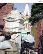 Security point at church near Lahore