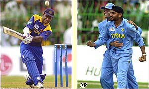 Singh catches Jayasuriya for 74 off the bowling of Agarkar