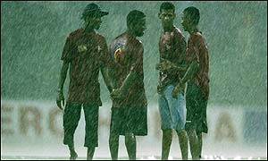 Rain stops play for the day in Colombo with India on 14-0 after two overs, a new match will begin on Monday