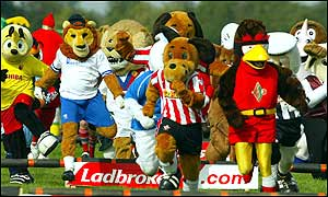 The 'athletes' begin their quest for glory in the Mascot Grand National