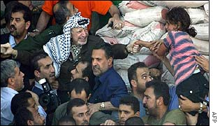 Yasser Arafat emerging from compound