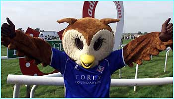 Oldham Athletic mascot Chaddy the Owl, winner of the 4th Mascot Grand National