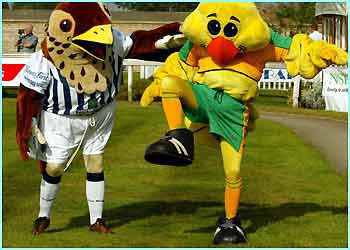 Baggie Bird from West Bromwich Albion (Left) and Captain Canary from Norwich. Obviously