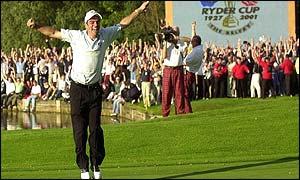 Paul McGinley jumps for joy after securing the Cup for Europe