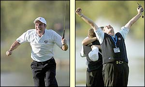 Paul McGinley runs to celebrate winning the Ryder Cup with his team-mates and Sam Torrance throws his fists in the air in delight