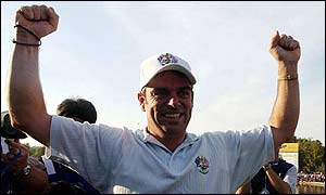 Ireland's Paul McGinley after holing the putt to win the 2002 Ryder Cup