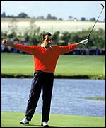 A young Sam Torrance celebrates his 1985 Ryder Cup-winning putt