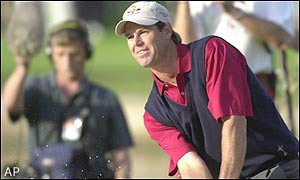 Paul Azinger hits a superb shot from the bunker