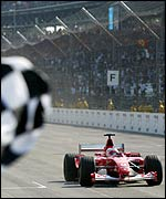 Rubens Barrichello wins the US Grand Prix