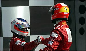 Rubens Barrichello thanks Michael Schumacher for handing him victory at Indianapolis