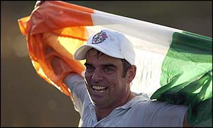 Paul McGinley celebrates his Ryder Cup-winning putt