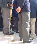 A veteran with a walking stick