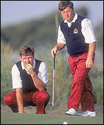 Nick Faldo and Ian Woosnam in Ryder Cup action in 1991