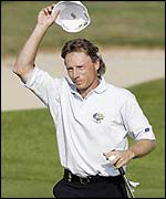 Bernhard Langer doffs his cap to the Belfry crowd