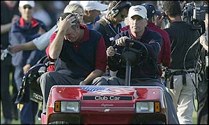 Curtis Strange and Mark Calcavecchia digest the USA's defeat