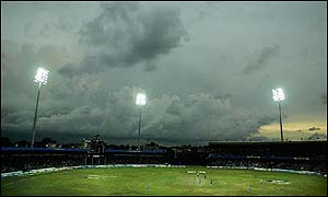 Storm clouds hover over the stadium as India prepare to start their innings