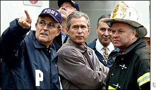 Then New York Mayor Rudolph Giuliani with President George Bush at Ground Zero after the attacks.