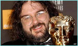 Peter Jackson with his Bafta award for Best Director