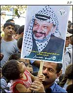Arafat poster held by child