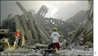Emergency workers in the rubble of the World Trade Center on 11 September, 2001.