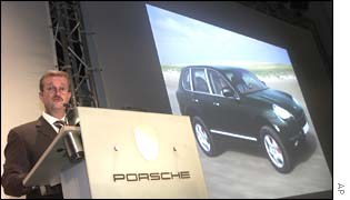 Dr Wendelin Wiedeking, chief executive of Porsche, launches the Cayenne