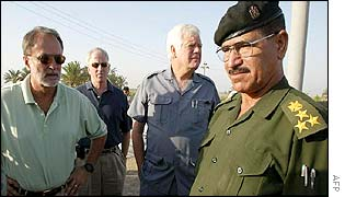 US congressmen in Iraq, from left: David Bonior, Mike Thompson and Jim McDermott with an unidentified Iraqi official