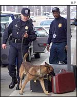 Airport security police check bags in Washington