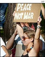 Peace protester in Washington