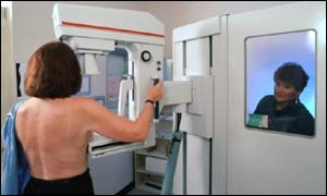 Woman undergoing breast cancer screening