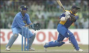 Rahul Dravid behind the stumps against Sri Lanka