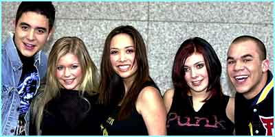 February 2001: The final line-up was kept a big secret until they were officially unveiled as the Popstars band - Hear'Say!