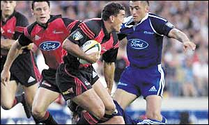 Daryl Gibson in action for the Crusaders against the Blues