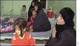 Iraqi women with their children in a hospital in Basra, Iraq