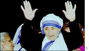 Mother Teresa at Christmas in Calcutta in 1996.