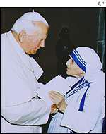 Pope John Paul II with Mother Teresa in 1979