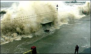 Rough seas batter the coast line in Blackpool, 1 February, 2002.
