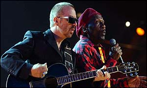 Former Eurythmic Dave Stewart performing with reggae legend Jimmy Cliff at the Mobos