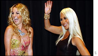 Britney Spears and Donatella Versace at the Versace spring/summer show in Milan