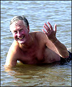 Michael Meacher lying in the water