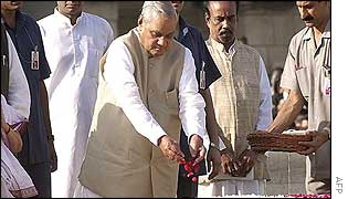 Prime Minister Vajpayee paying floral tributes at Mahatma Gandhi's memorial at Rajghat in  Delhi