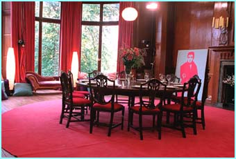 The group dining room, very pink