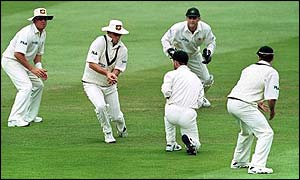 Mark Waugh catches the last wicket in England's second innings to set a new world record  - Darren Gough being his 157th victim