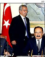 Prime MInister Bulent Ecevit (right) and Foreign Minister Sukru Sina Gurel